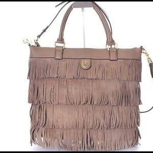 Tory Burch large fringe leather purse